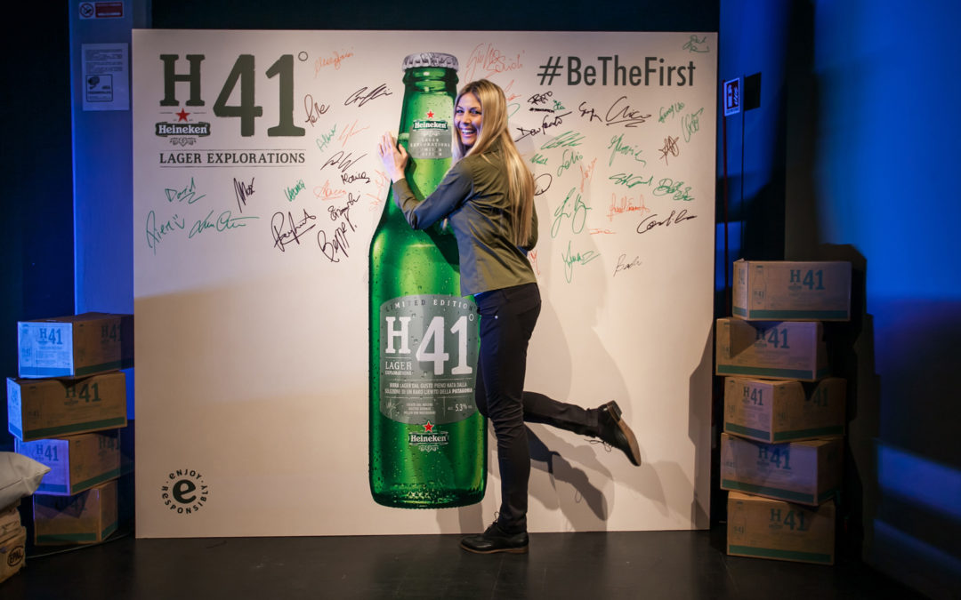 World launch of Heineken H41, a limited edition lager with events in Milan, Rome and Naples. Millenials are invited to #BeTheFirst to taste the beer in a social environment with engagement activities to share online.