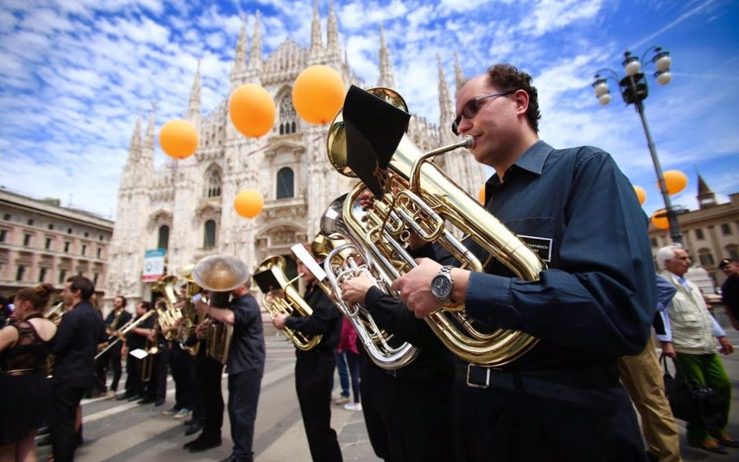 During the Champions League 2016 in Milan, Mediaset set up a Village to show the Cup and to host show and performances.   To increase word of mouth and success of the Village venticento organized a Flashmob: a group of Musicians and singers of Conservatorio di Milano gathered unexpectedly in Piazza del Duomo and executed the Champions League hymn creating surprise and engagement.